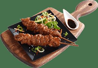brocheta de pollo asiática yakitori