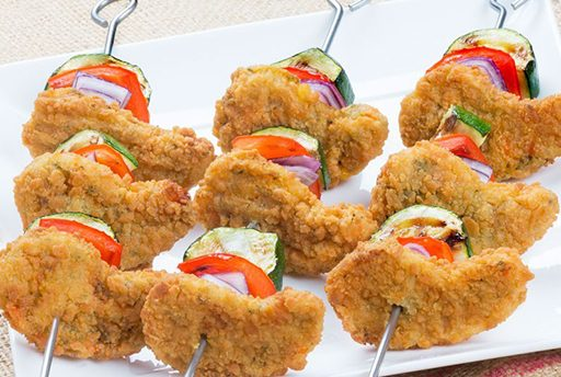 Nuggets vegetariano en brocheta