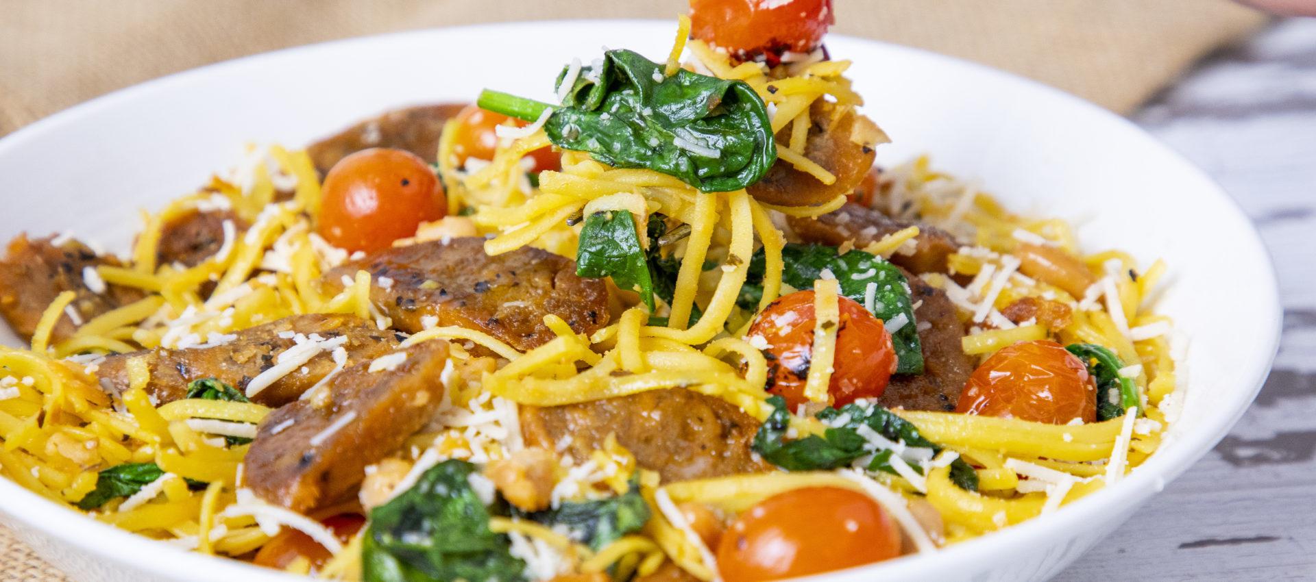 Salchicha beyond meat con pasta receta